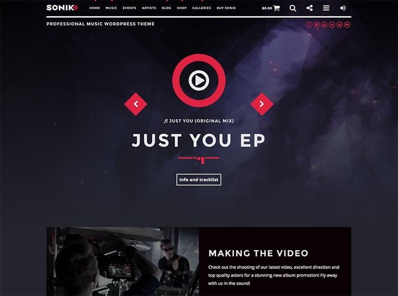 Sonik - Plantilla WordPress para bandas musicales, artistas y músicos