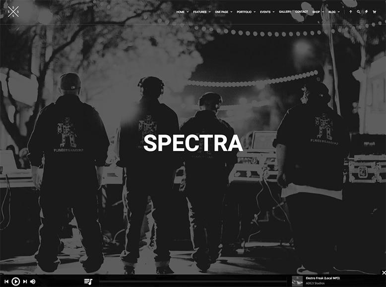 Spectra - Plantilla WordPress para músicos, DJs, bandas musicales y clubs con actuaciones