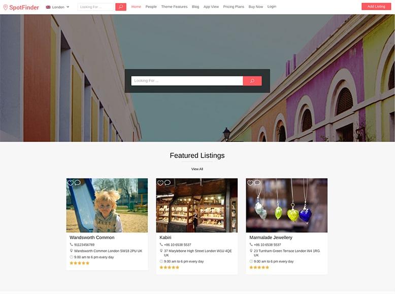 SpotFinder - Plantilla WordPress para listados de empresas