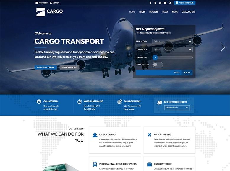 Cargo - Plantilla WordPress para empresas de transporte, logística y almacenamiento