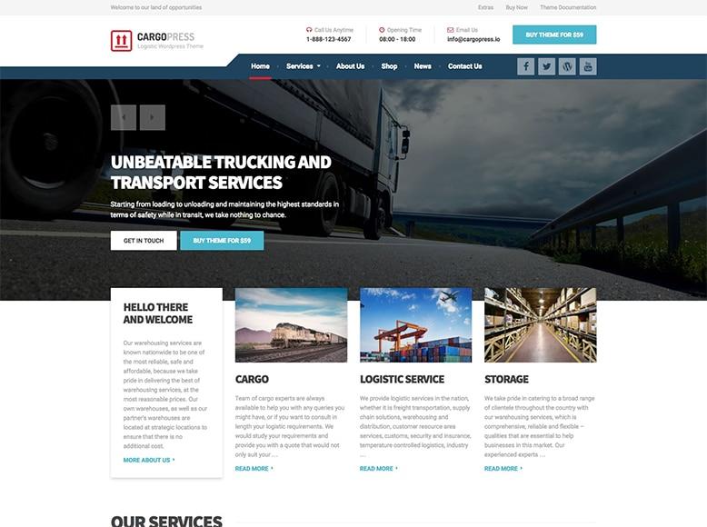 CargoPress - Plantilla WordPress para empresas de servicios de transporte por carretera, aéreo y marítimo