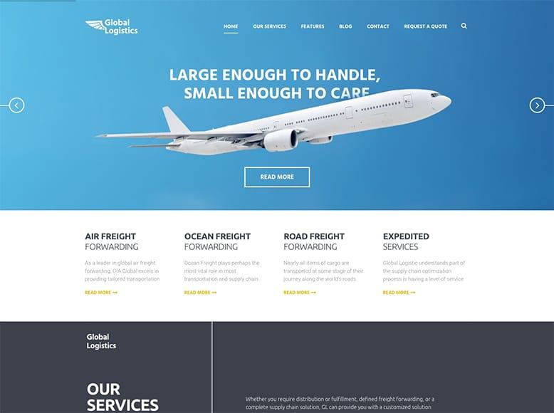 Global Logistics - Plantilla WordPress para empresas con servicios de transporte, logística, almacenaje y fletes