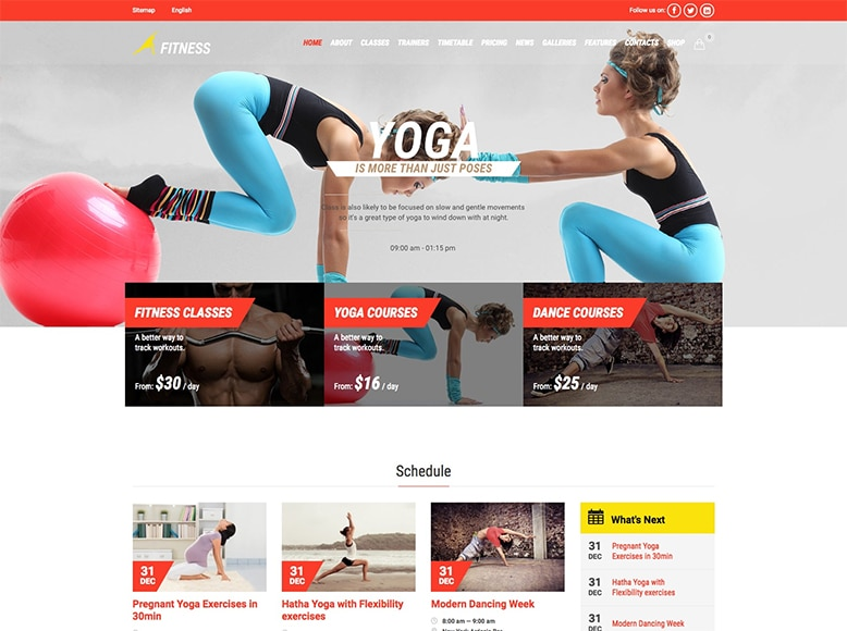 Gym & Fit - Plantilla WordPress para clubes de yoga, centros de yoga y estudios de yoga