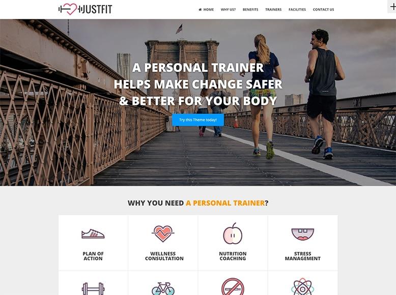 JustFit - Plantilla WordPress para entrenadores personales, gimnasios y nutrición deportiva