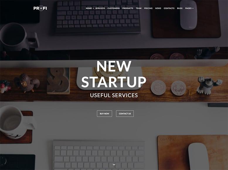 Profi - Plantilla WordPress para pequeñas o medianas empresas, startups y agencias