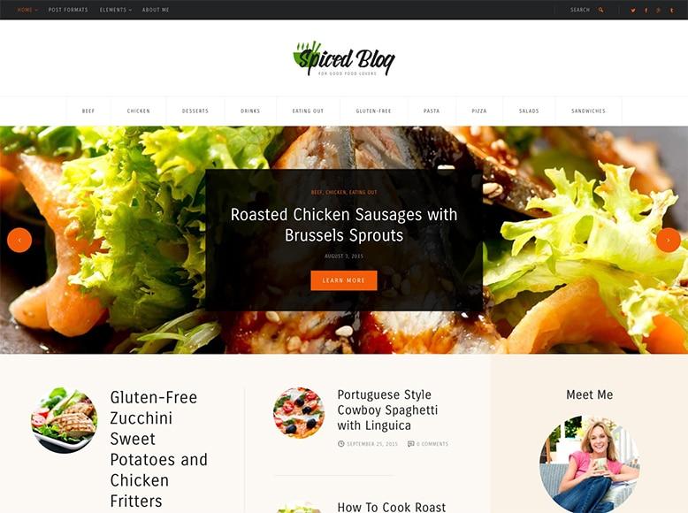 Spiced Blog - Plantilla WordPress para blogueros gastronómicos, recetas de cocina y fotógrafos de alimentos