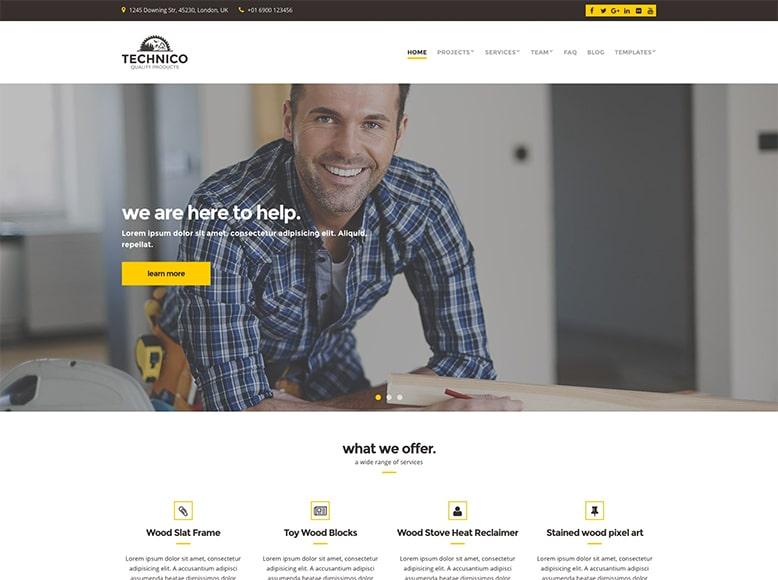 Technico - Plantilla WordPress para empresas y profesionales de reformas y construcción