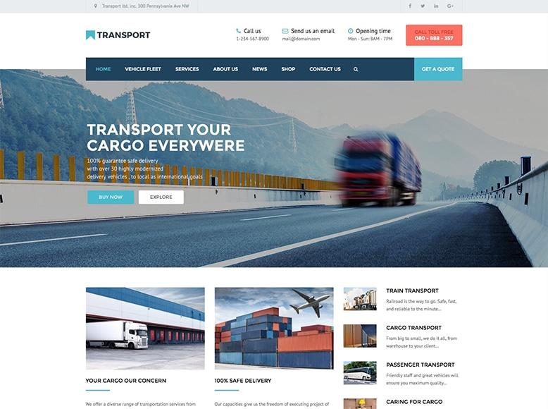 Transport WP - Plantilla WordPress para empresas transporte de mercancías, logística y almacenamiento