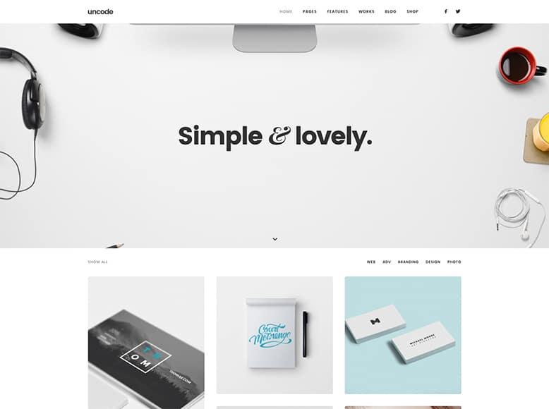 Uncode - Plantilla WordPress para portafolios creativos de agencias, fotógrafos, artistas