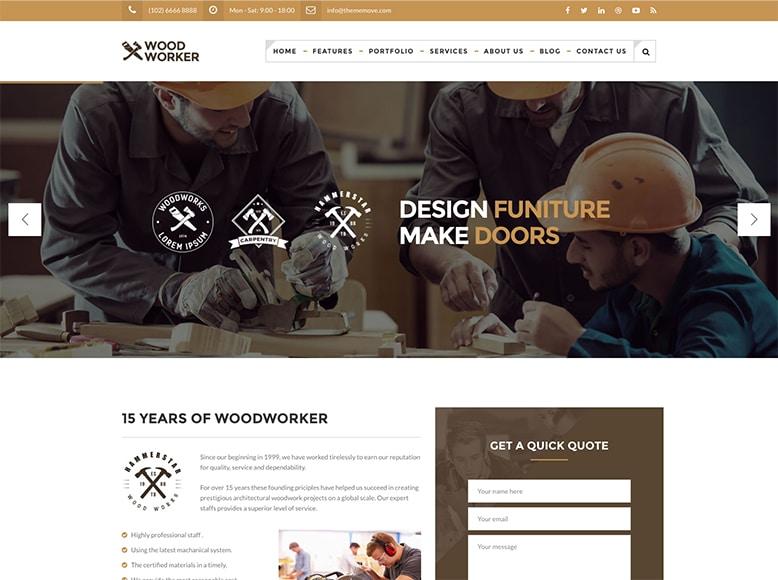 WoodWorker - Plantilla WordPress para empresas de carpintería y carpinteros