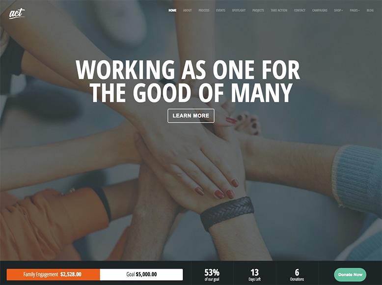Act - Plantilla WordPress para donaciones, ONGs, campañas benéficas, asociaciones caritativas