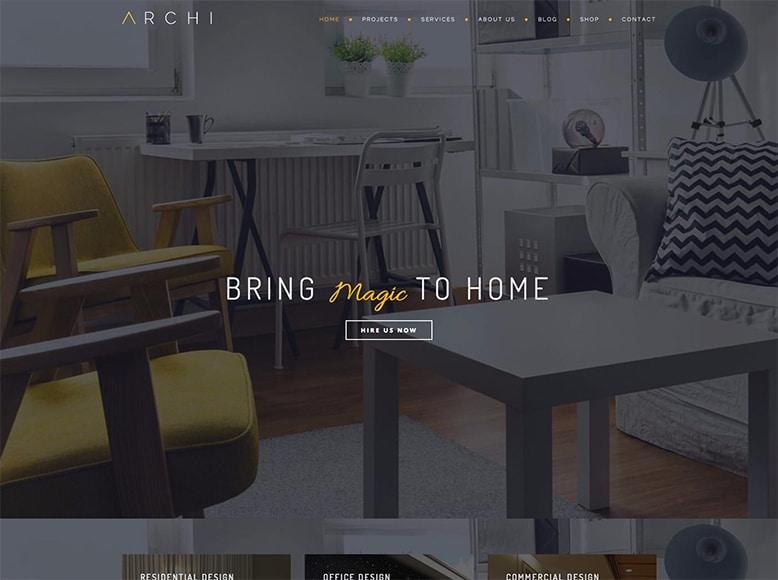 Archi - Plantilla WordPress para diseño de interiores, interioristas y decoradores