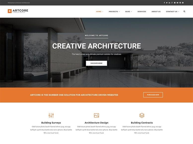 Artcore - Plantilla WordPress para arquitectos interioristas y empresas de decoración