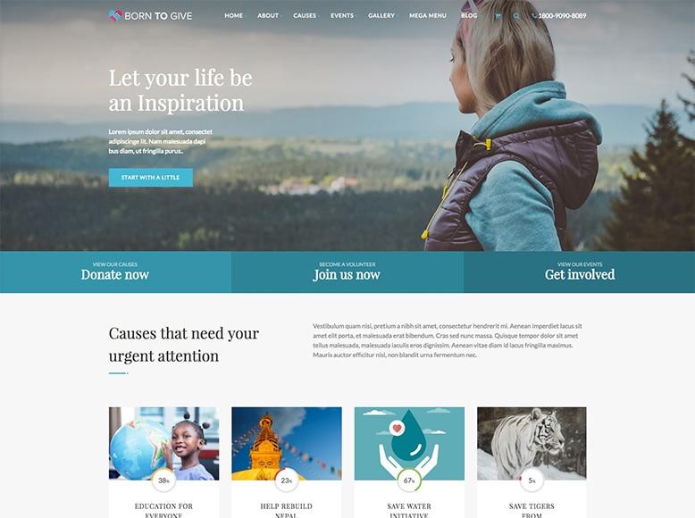 Born To Give - Plantilla WordPress para organizaciones sin ánimo de lucro, fundaciones ONG y de caridad