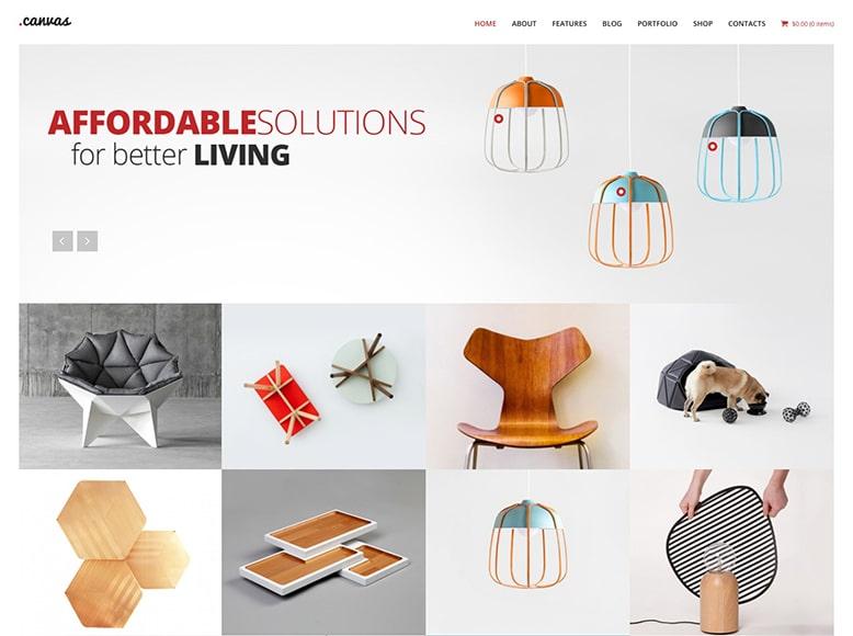 Canvas - Plantilla WordPress para estudios de diseño de interiores y firmas de decoración