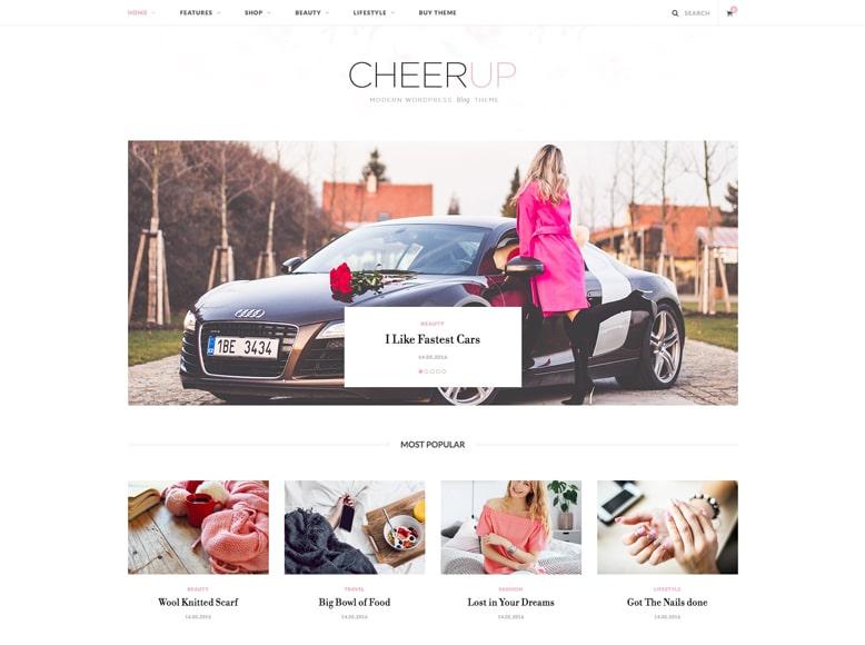 CheerUp - Plantilla de WordPress para blogs femeninos y revistas de moda, estilos de vida, viajes