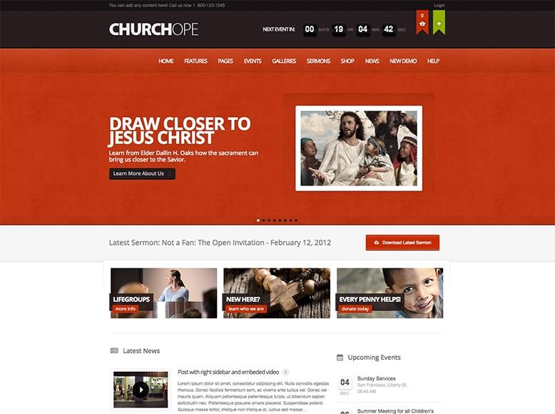 ChurcHope - Plantilla WordPress para iglesias, parroquias, templos y lugares de culto cristiano