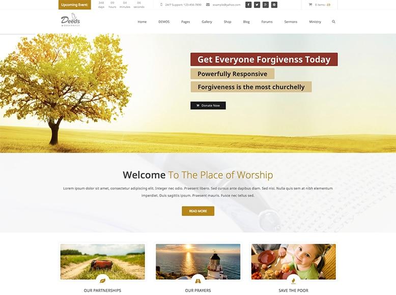 Deeds - Plantilla WordPress para grupos religiosos, asociaciones cristianas, iglesias y templos