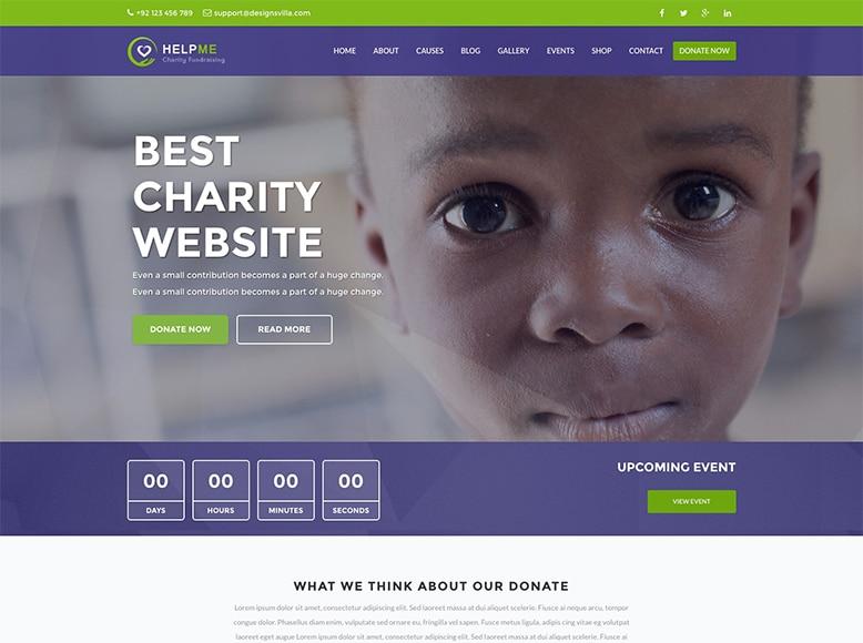 HelpMe - Plantilla WordPress para ONG, ayuda humanitaria, organizaciones caritativas y sin ánimo de lucro