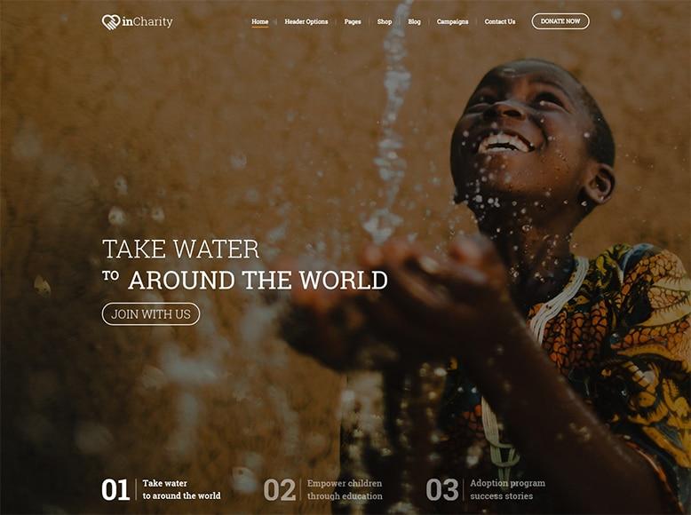 InCharity - Plantilla WordPress para organizaciones sin ánimo de lucro y de caridad
