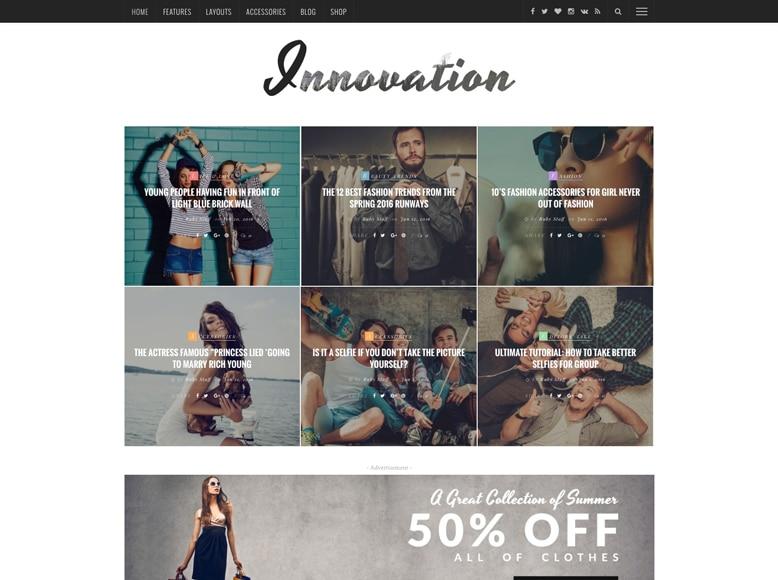 Innovation - Plantilla WordPress para blogs de moda, tecnología, viajes