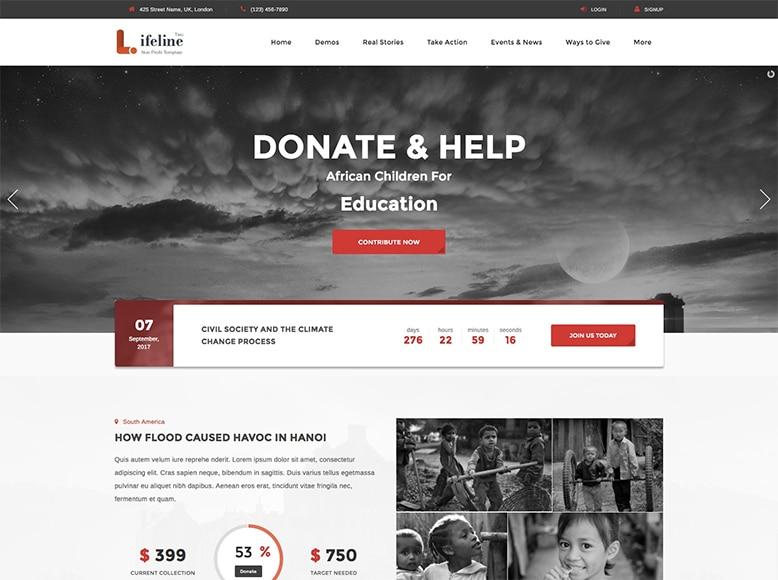 Lifeline 2 - Plantilla WordPress para ONGs, organizaciones sin ánimo de lucro, fundaciones de caridad