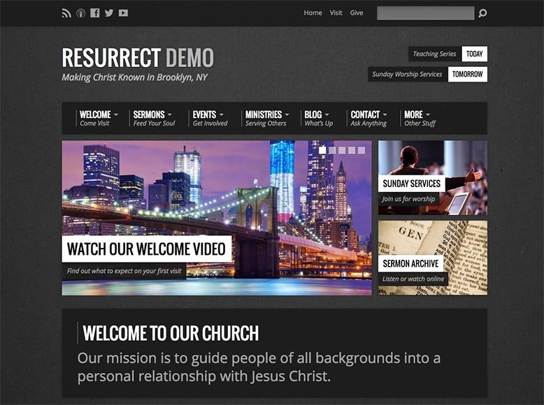 Resurrect - Plantilla WordPress para iglesias modernas, centros de oración y caridad