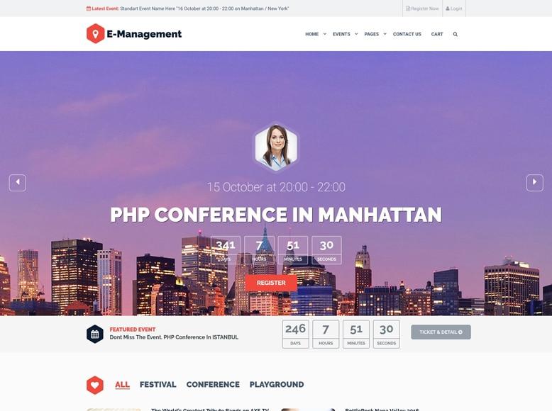 Event Management - Plantilla WordPress para la organización de eventos, conferencias