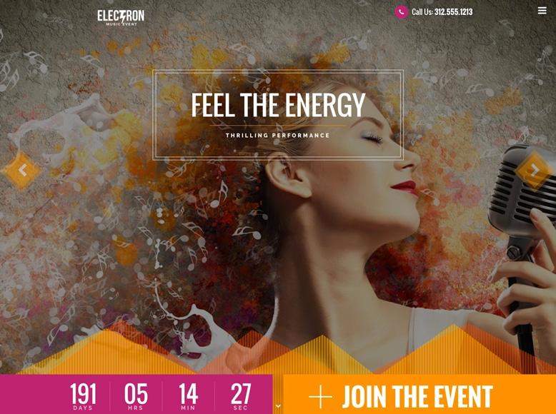 Electron - Plantilla WordPress para eventos musicales, conciertos, festivales