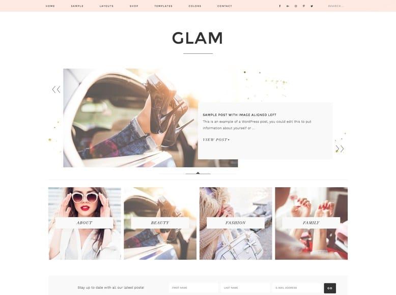 Glam Pro - Plantilla WordPress elegante para blogs personales de moda y tendencias