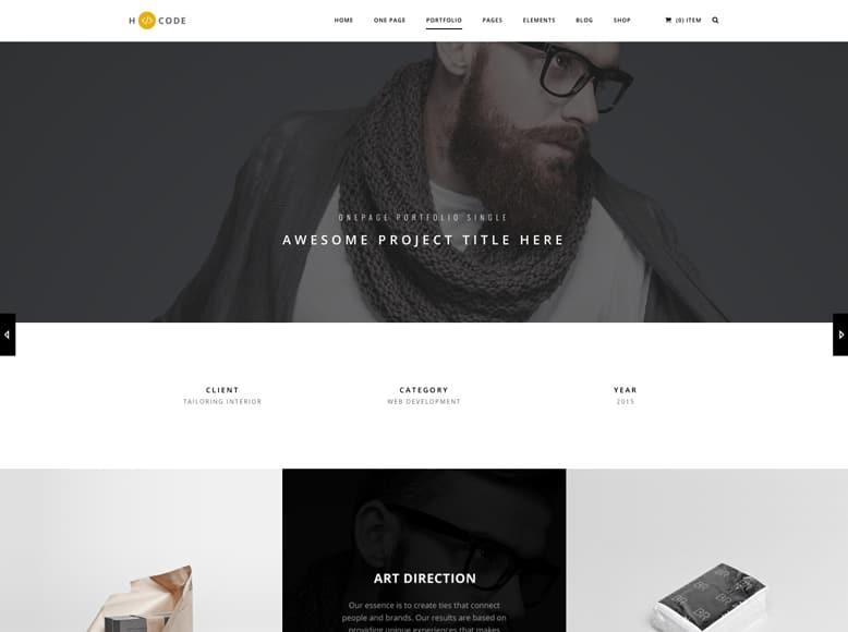 H-Code - Plantilla WordPress para portafolios creativos de empresas y productos