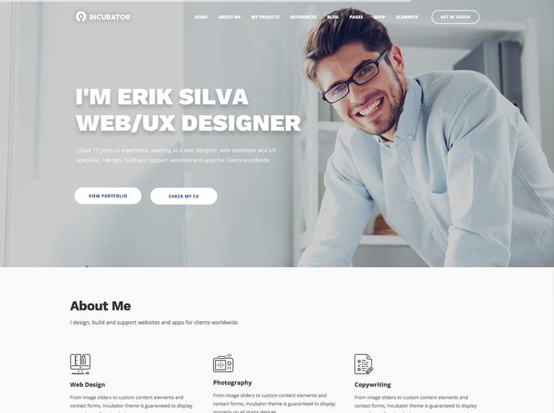 Incubator - Plantilla a una sola página de WordPress para currículums vitae online