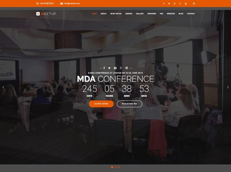 Meetup - Plantilla WordPress moderna para promocionar conferencias y eventos