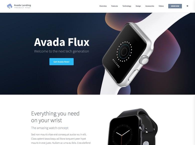 Avada - Plantilla WordPress moderna para páginas de aterrizaje de productos y servicios