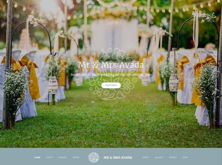 Avada - Plantilla WordPress sitios web de bodas y empresas de organización de celebraciones