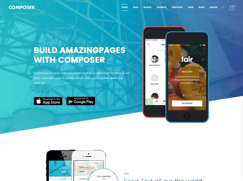 Composer - Plantilla WordPress para empresas de desarrollo de aplicaciones móviles