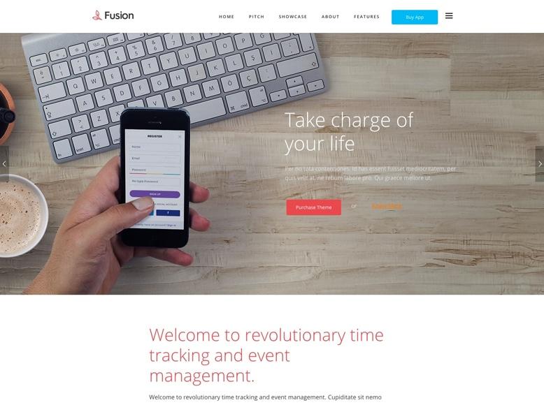 Fusion - Tema WordPress para desarrolladores de aplicaciones móviles y software