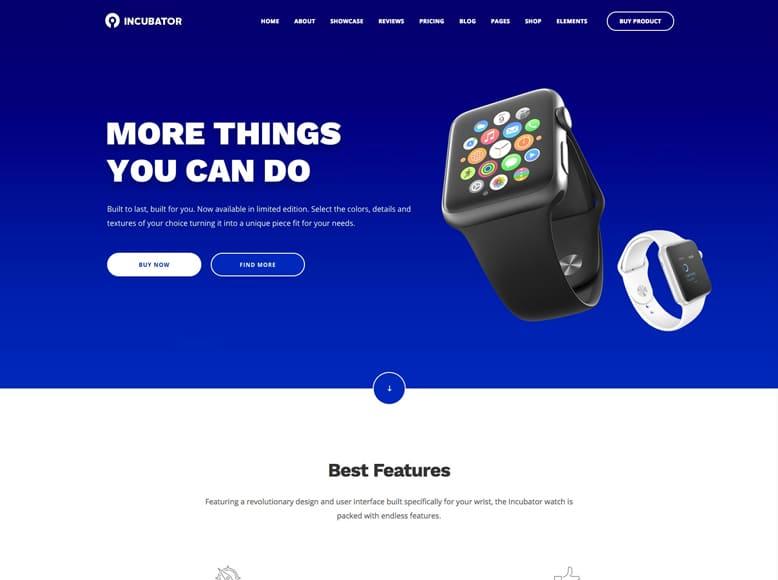 Incubator - Plantilla WordPress para páginas de destino de startups, agencias y empresas