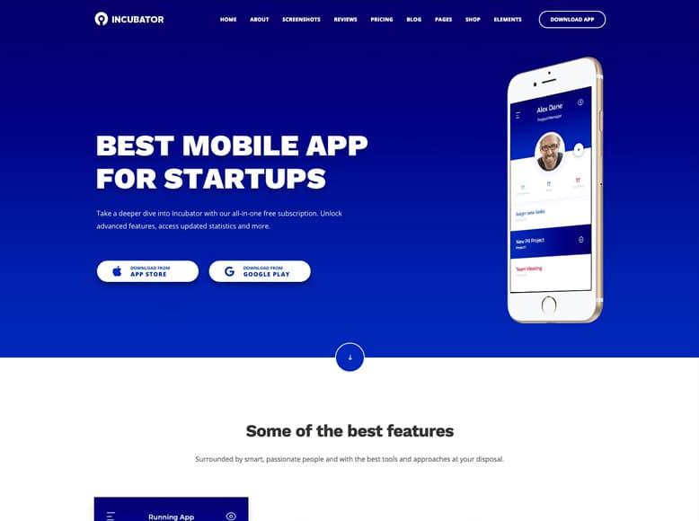 Incubator - Plantilla WordPress para startups y empresas de desarrollo de aplicaciones móviles