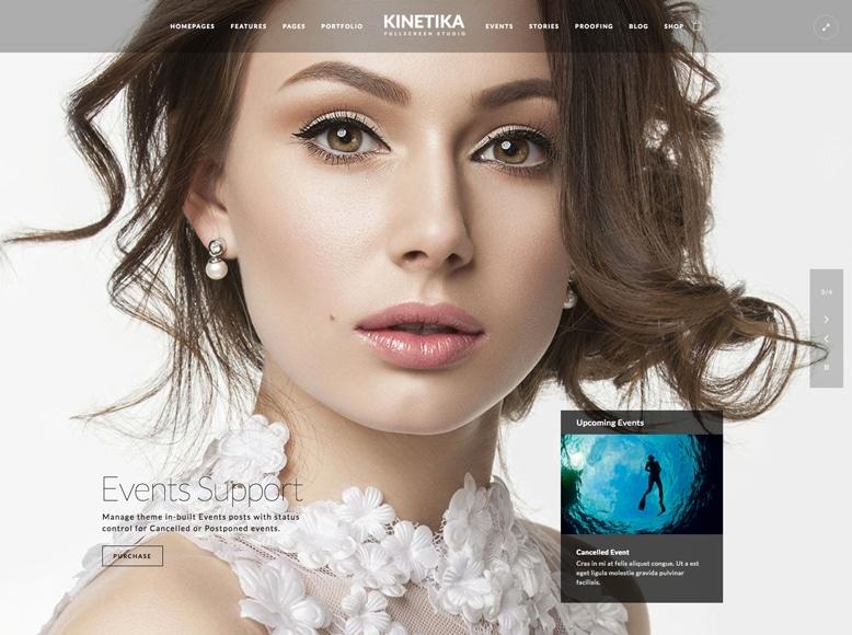 Kinetika - Plantilla WordPress para fotógrafos de bodas, comuniones y bautizos