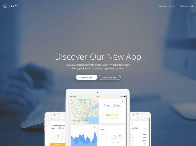 Navy - Plantilla WordPress flexible y fácil de usar para landing pages de venta de productos