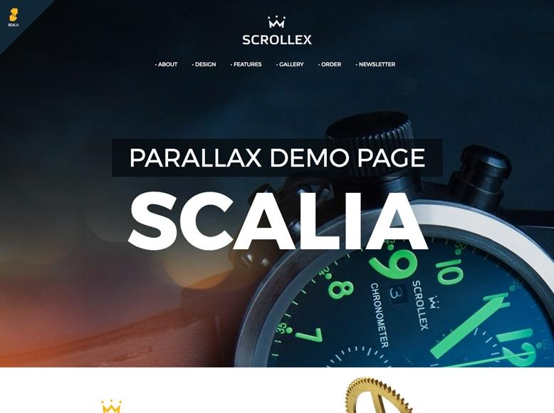 Scalia - Tema WordPress a una página para páginas de destino de promoción de productos