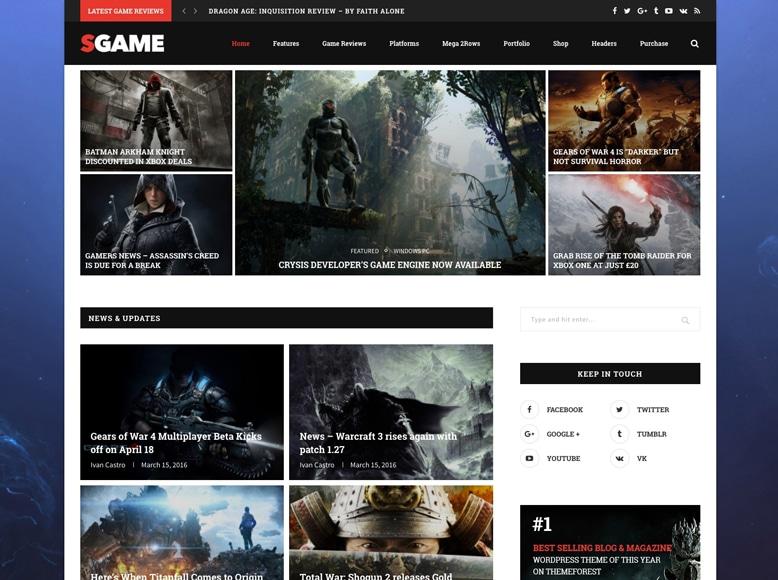 Soledad - Plantilla WordPress para blogs y revistas digitales de juegos