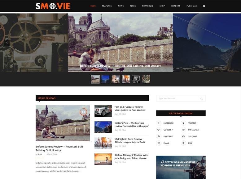 Soledad - Plantilla WordPress elegante para vídeo revistas, valoración de películas y cine