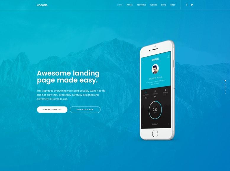 Uncode - Plantilla WordPress innovadora para promoción de aplicaciones móviles y apps
