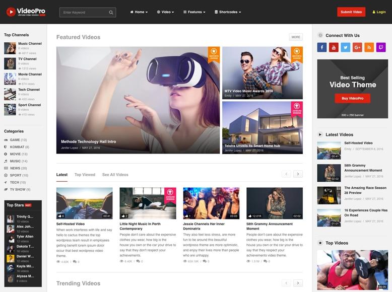 VideoPro - Plantilla WordPress para vídeo revistas, revistas de cine y películas, vídeo blogs