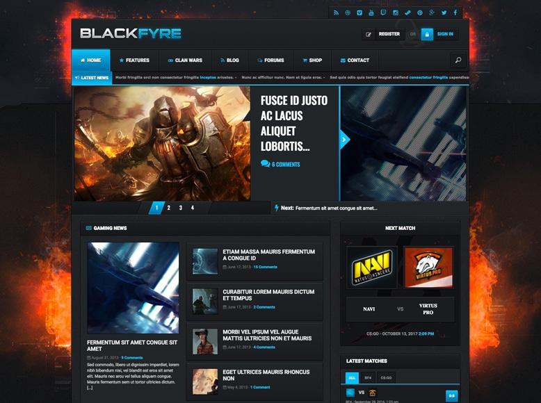 Blackfyre - Plantilla WordPress para comunidades de jugadores