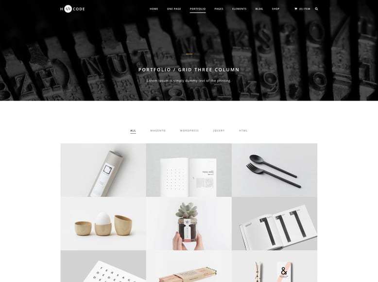 H-Code - Plantilla WordPress para portafolios creativos de artistas, diseñadores, escultores
