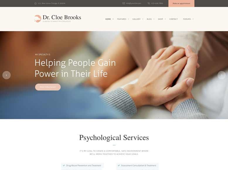 Cloe Brooks - Tema WordPress para psicólogos, psiquiatras y coachs