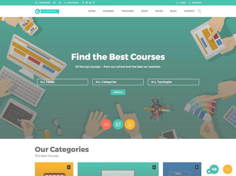 Education Pack - Plantilla WordPress para cursos a distancia en academias, universidades y colegios